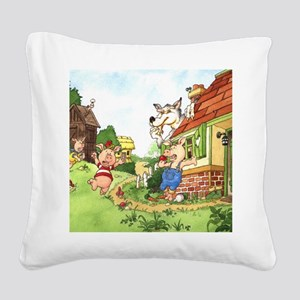three-little-pigs Square Canvas Pillow