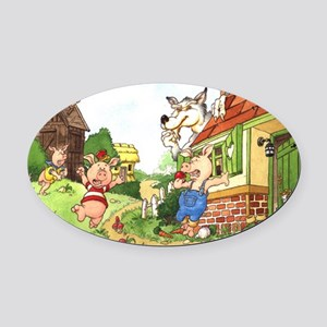 three-little-pigs Oval Car Magnet