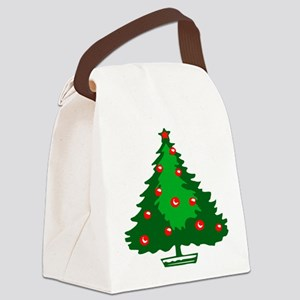 Decorated Christmas Tree Canvas Lunch Bag