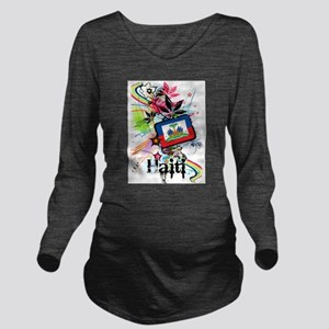 Haiti Long Sleeve Maternity T-Shirt