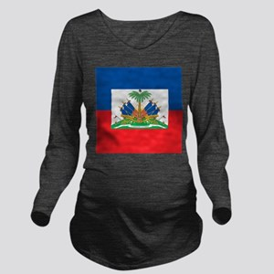 Haiti Flag Long Sleeve Maternity T-Shirt