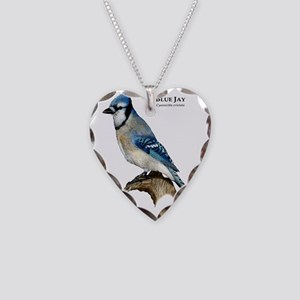 Blue Jay Necklace Heart Charm