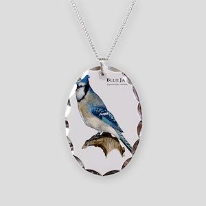 Blue Jay Necklace Oval Charm