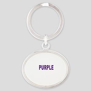 Hate Purple for Black Shirt Oval Keychain