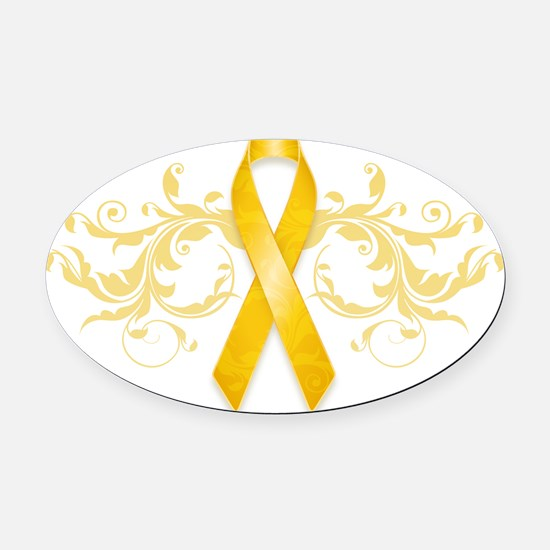 Gold Ribbon Oval Car Magnet
