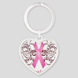 PinkCancerSurvivorDark Heart Keychain