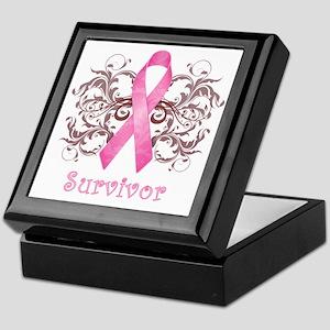PinkCancerSurvivorDark Keepsake Box