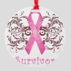 PinkCancerSurvivorDark Round Ornament