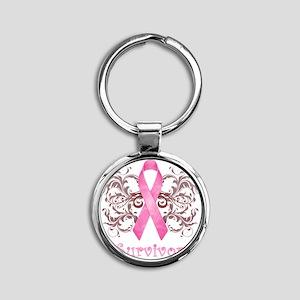 PinkCancerSurvivorDark Round Keychain