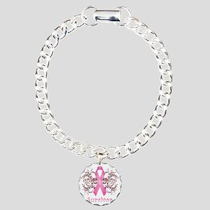 PinkCancerSurvivorDark Charm Bracelet, One Charm