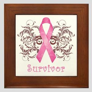 PinkCancerSurvivorDark Framed Tile