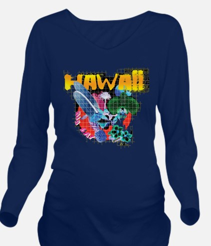 Hawaii Graphic Long Sleeve Maternity T-Shirt