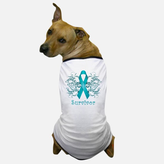 TealCancerSurvivorDark Dog T-Shirt