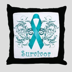 TealCancerSurvivorDark Throw Pillow