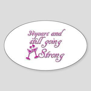 34 year wedding anniversary Sticker (Oval)