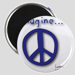 Blue Imagine Peace Symbol Magnet