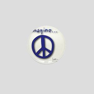 Blue Imagine Peace Symbol Mini Button