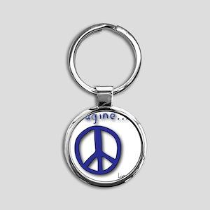 Blue Imagine Peace Symbol Round Keychain