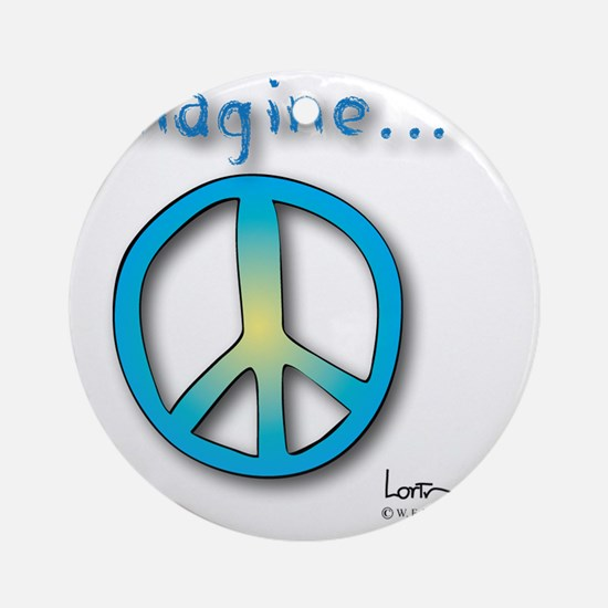 Blue -Yellow Imagine Peace Symbol Round Ornament