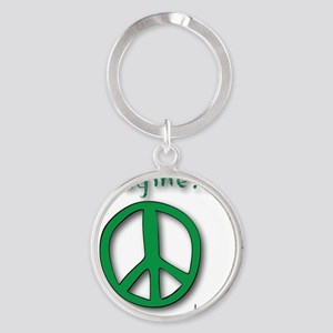 Green Imagine Peace Symbol Round Keychain