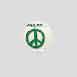 Green Imagine Peace Symbol Mini Button