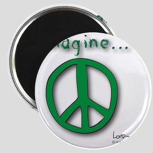 Green Imagine Peace Symbol Magnet