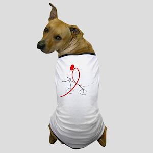 Plain Red Ribbon Rider No Background Dog T-Shirt