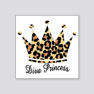 "leopard diva princess Square Sticker 3"" x 3"""