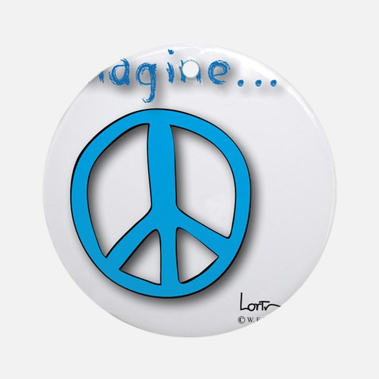 Blue Imagine Peace Symbol Round Ornament