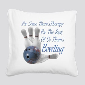 Bowling Therapy Dark Square Canvas Pillow