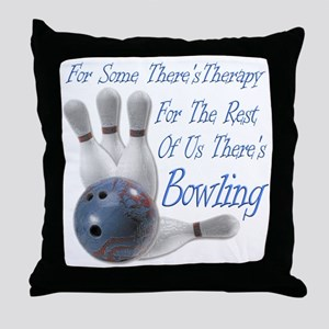 Bowling Therapy Dark Throw Pillow