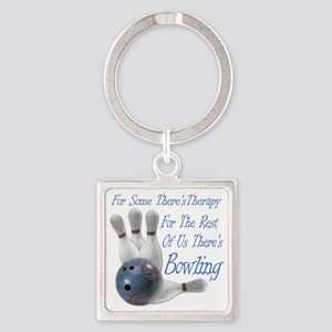 Bowling Therapy Dark Square Keychain