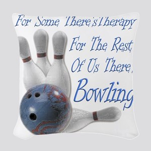 Bowling Therapy Dark Woven Throw Pillow