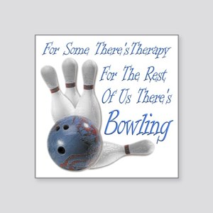 "Bowling Therapy Dark Square Sticker 3"" x 3"""