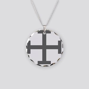 Cross Potent - Grey Necklace Circle Charm