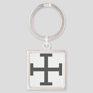 Cross Potent - Grey Square Keychain