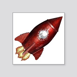 "red_rocket_angle_flat Square Sticker 3"" x 3"""