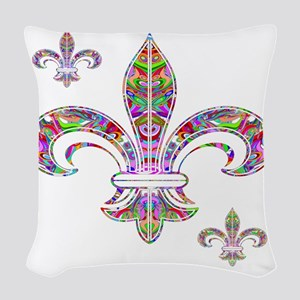 PSYCHEDELIC FLEUR-69c Woven Throw Pillow