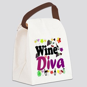 Wine Diva Flowers black purple Canvas Lunch Bag