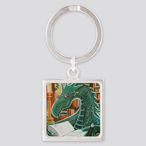 Library Dragon Square Keychain