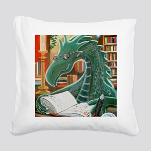 Library Dragon Square Canvas Pillow
