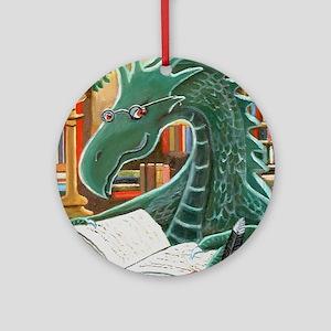 Library Dragon Round Ornament