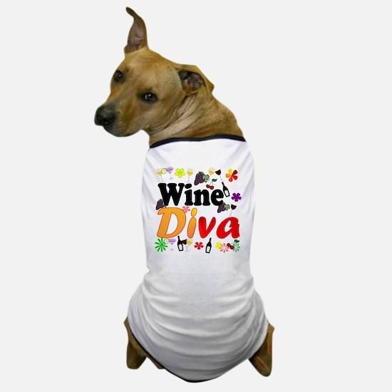 Wine Diva Flowers Black Dog T-Shirt