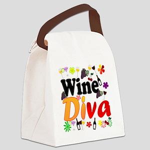 Wine Diva Flowers Black Canvas Lunch Bag