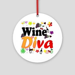 Wine Diva Flowers Black Round Ornament