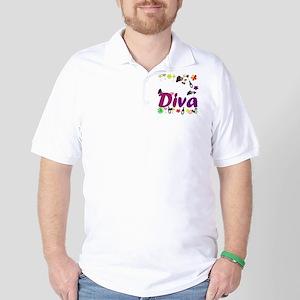 Wine Diva Flowers white purple Golf Shirt