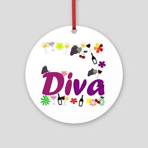 Wine Diva Flowers white purple Round Ornament