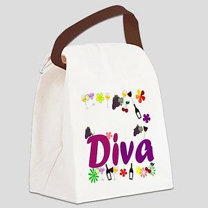 Wine Diva Flowers white purple Canvas Lunch Bag