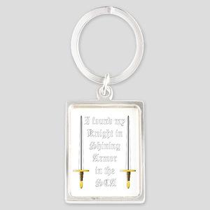 Knight in Shining Armor White Portrait Keychain