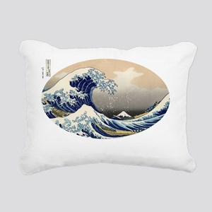 great_wave_oval_10x10 Rectangular Canvas Pillow